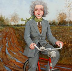Constant Motion, oil on canvas, portrait of Albert Einstein by Fred Calleri at a Scottsdale art gallery