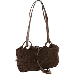 Moyna Handbags Beaded Shoulder Bag Brown - Moyna Handbags Fabric Handbags