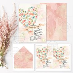 Vintage floral heart hot air balloon bohemian Baby Shower invitation. DIGITAL printable files. Original artwork. Customizable with your details.