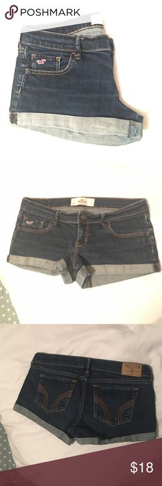 "HOLLISTER SHORTS Dark wash Hollister jean shorts. They are the ""shorty shorts"" so as the name suggests, they are very short lengthwise. In excellent condition, no holes, rips, faded areas, etc.  the Hollister brand tag on the back is fully intact, just a bit faded on some letters from washing. They are my favorite shorts, just don't fit anymore. Size 7, w 28. Hollister Shorts Jean Shorts"