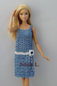 crocheted barbie doll clothes PDF pattern of the exquisite crochet dress and hat for Barbie type dolls. In the spirit of the The hat is decorated with small beads. Sewing Barbie Clothes, Barbie Clothes Patterns, Doll Dress Patterns, Clothing Patterns, Crochet Barbie Patterns, Crochet Doll Dress, Crochet Doll Clothes, Crochet Pattern, Crochet Dresses