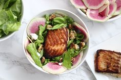 Baked Salmon Bowls With Watermelon Radish & Goat Cheese — She Well