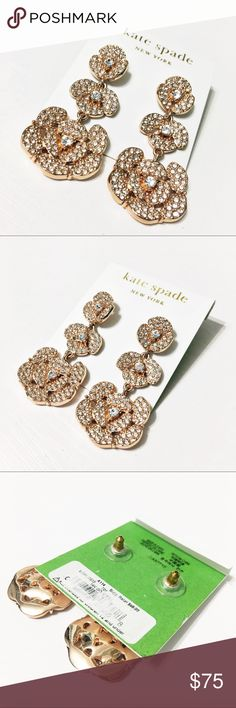 """Kate Spade Disco Pansy Crystal Pave Drop Earrings These hard to find Crystal Pave Disco Pansy earrings from Kate Spade are amazing! New on card. 2"""" long and a gorgeous Rose-Gold. Questions? Please ask. Sorry, no trades. Bundle for a discount! kate spade Jewelry Earrings"""