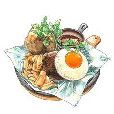 모노클 작업. 🍽 #일러스트 #그림 #푸드일러스트 #스테이크 #카레 #illust #illustration #foodillustration #steak #curry #drawing Food Art, A Food, Food Cartoon, Food Stickers, Food Drawing, Food Illustrations, Pictures To Draw, Cute Drawings, Dishes