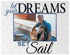 Malden International Designs Shoreline Silkscreened Let your Dreams set Sail Wood Picture Frame to Hold 4 by 6Inch Photo -- Check this awesome product by going to the link at the image.