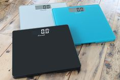 Three of our Square scales in the B180 bath scale series. Along with the standard black and white, this scale is available in Sage Green, Rio Red, Midnight Blue & a consumer favorite Peacock blue (as shown)