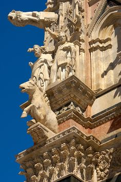 Cathederal - Detail of the facade.  Piazza del Duomo, Siena, province of Siena Tuscany