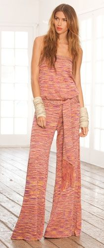 Alexis Lola Jumpsuit in Sunset Pink with Fringe Sash!    This Jumpsuit is to die for!