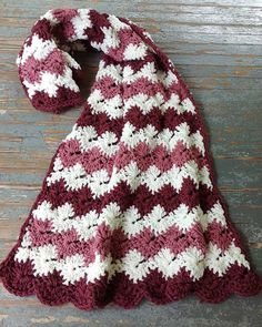 """Original Designs By: Maggie Weldon Easy Skill Size: About 41"""" wide x 60"""" long; Materials: Yarn Needle; Worsted Weight Yarn : Off-White (MC) - 28 oz, 1560 yd (800 g, 1400 m); Dark Rose (A) - 21 oz, 117"""