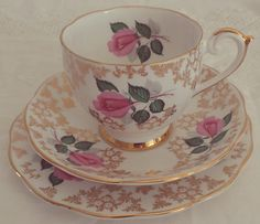 Stunning Vintage Pink and Gold Floral Bone by HannahsVintageHeaven, £21.50