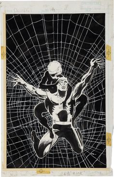 Frank Miller Daredevil Black Widow Cover Original Art (Marvel, The Black Widow has a desperate - Available at 2010 May Signature Comics &. Frank Miller Daredevil, Daredevil Art, Comic Book Artists, Comic Artist, Comic Books Art, Dark Comics, Bd Comics, Marvel Comics, Marvel Vs