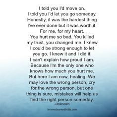 Lessons Learned in Life   I told you I'd move on.
