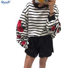 2016 새로운 가을 하라주쿠 후드 장미 자수 랜턴 소매 느슨한 스트라이프 여성 스웨터 빈티지 우아한 캐주얼 탑