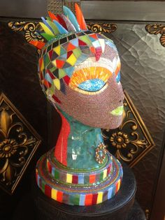 Newest Creation Mosaic Tile Art, Mosaic Crafts, Mosaic Glass, Styrofoam Head, Mannequin Heads, Middle School Art, Bag Patterns To Sew, Flower Show, Art Model
