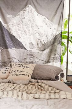 4040 Locust Layered Mountain Tapestry from Urban Outfitters. Dorm Tapestry, Tapestry Bedroom, Tapestries, Teen Girl Rooms, Girls Bedroom, Bedroom Ideas, Nursery Ideas, Man Cave And She Shed, Dorm Bed Skirts