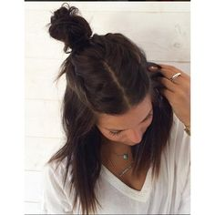 Tresses Middle Parted Half Bun ❤ liked on Polyvore featuring beauty products