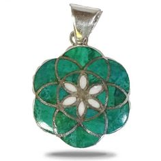Wonderful small silver pendant with the Flower of Life symbol in peruvian green turquoise and mother of pearl in the middle - InkaDesign Flower Of Life Symbol, Corals, Green Turquoise, Middle, Pearl, Symbols, Christmas Ornaments, Crystals, Holiday Decor