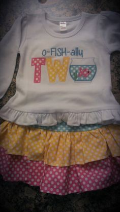 Second birthday outfit, fish theme would be cute on a custom boy shirt!