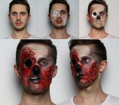 Zombie make up with liquid latex and fake blood
