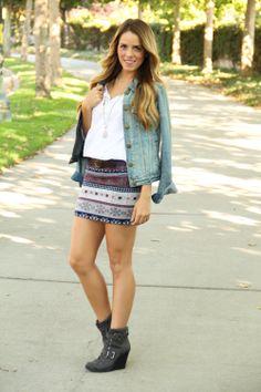 "@Julia Engel of ""Gal Meets Glam"" wearing our Winter Snow skirt."