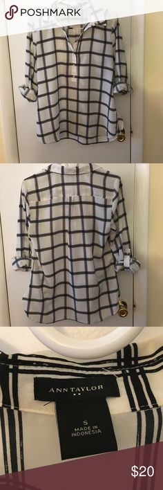 Ann Taylor Window Pane Patterned Top Popover style top that is perfect for wearing with jeans or a pencil skirt! Ann Taylor Tops Blouses