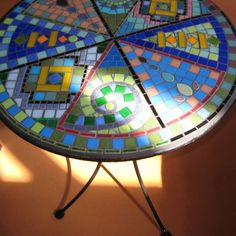 MOSAIC Beautiful Recycle/Upcycled Round End Table by valnorthwoods