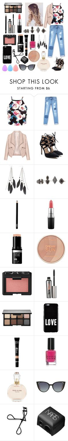"""""""Out On The Town"""" by jennazilla ❤ liked on Polyvore featuring Bebe, Zizzi, Charlotte Russe, Space NK, MAC Cosmetics, Maybelline, NARS Cosmetics, Benefit, Smashbox and Givenchy"""