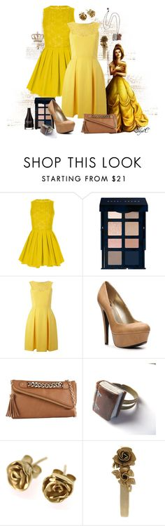 """""""Belle - Formal - Disney's Beauty and the Beast"""" by rubytyra ❤ liked on Polyvore featuring Topshop, Disney, Bobbi Brown Cosmetics, Almari, G by Guess, ALDO, Nicola Crawford, Citrine by the Stones, Revlon and disney"""