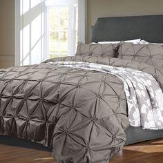 Rosette Pintuck Duvet Cover Set Titanium Qe Home Dorm Room