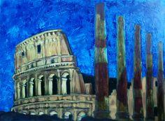 La città eterna / Acrilico e olio su tela, 70x50 cm