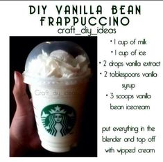 Diy vanilla bean frappe More from my Homemade Starbucks Recipes – Vanilla Bean Secret Starbucks Menu Items You Need to Have – Cinnamon Roll frappe ( vanilla…Easy Vanilla FrappeVanilla FrappeVanilla And Chocolate Icecream FrappeFrench Vanilla Frappe Smoothie Drinks, Smoothie Recipes, Smoothies, Milkshake Recipes, Yummy Drinks, Yummy Food, Tasty, Drink Recipes Nonalcoholic, Kid Drinks