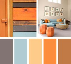 Bedroom ideas grey orange color palettes new Ideas Living Room Colors, Living Room Decor, Family Room Colors, Orange Color Palettes, Orange Paint Colors, Orange Color Schemes, Room Color Schemes, Apartment Color Schemes, Wood Beds