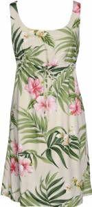 Pink Hibiscus - Ladies Aloha Tie Front Dress - Beige