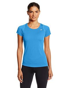 New Balance Women's Accelerate Short Sleeve Shirt, Small, Wave Blue - http://www.exercisejoy.com/new-balance-womens-accelerate-short-sleeve-shirt-small-wave-blue/athletic-clothing/