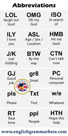 18 Abbreviations and Meanings BTW: By the way CTN: Can't talk now CYE: Check your email dI: Download ETA: Estimated time of arrival FWIW: For what it's worth FYI: For your information GG: Good game GJ: Good job GL: Good luck gr8: Great GTG: Got to go GMV: Got my vote HTH: Hope this helps OT: Off topic PC: Personel computer pls: Please POS: Parent over shoulder ppl: People Txt: Text w/e: Whatever W8: Wait Essay Writing Skills, English Writing Skills, Writing Words, English Lessons, English Vocabulary Words, English Phrases, Learn English Words, English Grammar, English Sentences