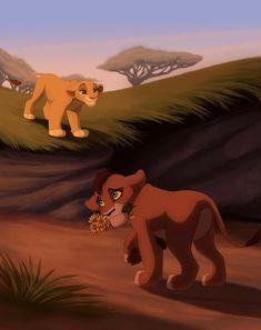 Kovu and Kiara, from the Disney movie The Lion King II: Simba's Pride. Kiara Lion King, Kiara And Kovu, Lion King 3, Lion King Fan Art, Simba And Nala, Lion King Movie, Disney Lion King, Disney And More, Disney Love