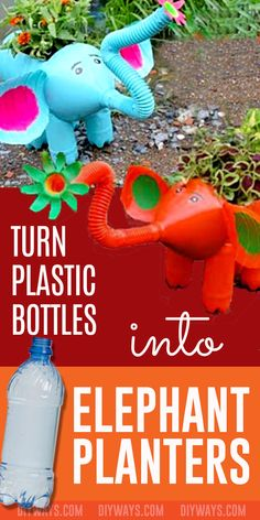 DIY Elephant Planters Made From Plastic Bottles Plastic Milk Bottles, Plastic Bottle Crafts, Plastic Bottle Planter, Easy Diy Crafts, Creative Crafts, Creative Ideas, Kids Crafts, Diy Projects For Beginners, Fun Hobbies