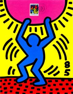 Keith #Haring, International Youth Year, 1985; lithograph, 11 x 8 1/2 inches