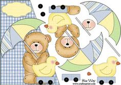 Baby Shower Bear Over the Edge Card Front and Decoupage on Craftsuprint - View Now!