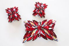 Sherman brooch and earrings  signed Sherman by QuinceVintage, $350.00