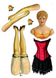 L&B (Littauer & Boysen) Berlin, Germany — Articulated Doll  'Lillian Russell with a red corset',  1880's   (579x800)