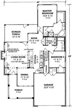 Traditional, Country, Ranch, Cape Cod House Plans - Home Design # 11774 Ranch House Plans, Best House Plans, Dream House Plans, Small House Plans, House Floor Plans, Dream Houses, Brick Cottage, Cottage House Plans, Bedroom House Plans