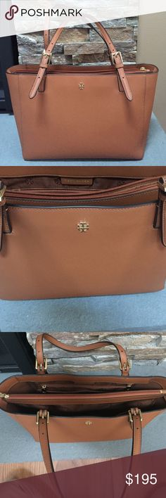 Tory Burch York Tote. Size: Small. Color: Luggage. Purchased in April 2016 from Bloomingdales. Loved this bag! The material is awesome. The color goes with any outfit. Perfect everyday bag. Excellent condition. Reason for selling: Recently purchased a new everyday bag. Tory Burch Bags Totes
