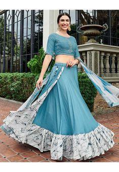 Steel Blue Readymade Cotton Lehenga Choli