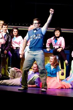 """Zach Lavalle, one of Hill-Murray's star athletes, takes the school's stage in """"Grease.'' Many H-M athletes participate in theatre and the arts. Students are continually encouraged to explore new interests."""