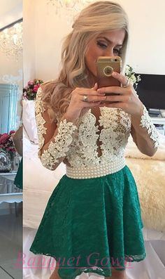 2016 Modest Sexy Long Sleeves Lace Pearls Short Homecoming Dresses Deep V Neck Sheer Tulle Short Party Dress