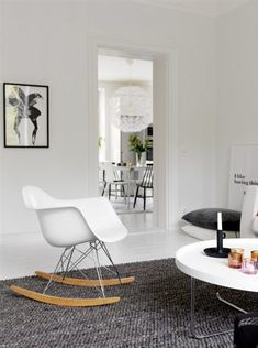 Sit comfortably with the Herman Miller Eames Molded Plastic Rocking Chair from Smart Furniture. Eames Rocker, Eames Rocking Chair, Rocking Chair Nursery, Eames Chairs, Arm Chairs, Lounge Chairs, Charles Eames, Living Room Chairs, Home Living Room
