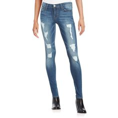 Flying Monkey Distressed Skinny Jeans - ($50) ❤ liked on Polyvore featuring jeans, dark wash, skinny fit jeans, destroyed skinny jeans, destructed skinny jeans, flying monkey jeans and ripped jeans