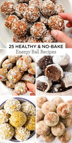 Here's 25 healthy & no bake Energy Balls recipes! We've got delicious flavors like chocolate peanut butter carrot cake cherry pumpkin and MORE!Easy to make gluten-free and made with healthy ingredients like oatmeal dates cinnamon banana or more! Healthy Cake, Healthy Treats, Healthy Baking, Apfel Snacks, Banana Energy, Balls Recipe, Clean Eating Snacks, Snack Recipes, Healthy Recipes