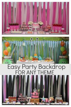 The easiest DIY party backdrop. A cheap & easy backdrop using budget plastic tablecloths. Tablecloth Backdrop, Diy Backdrop, Tablecloths, Outdoor Birthday Decorations, Diy Party Decorations, Shutter Decor, Diy Birthday, Birthday Ideas, Outdoor Parties
